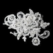 * Diamond White Pearl Rhinestone & Bugle Bead Embroidered Mesh Fabric Flower Hair Comb 9723 - Alternative Measures