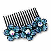 * Adorable Black Flower Comb w/ Blue Rhinestones & Aurora Borealis Crystals 6729 - Alternative Measures