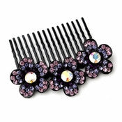 * Adorable Black Flower Comb w/ Purple Rhinestones & Aurora Borealis Crystals 6729 - Alternative Measures
