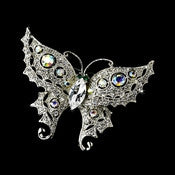 * Anitque Silver Clear/AB Rhinestone Butterfly with Green Eyes Brooch 122 - Alternative Measures