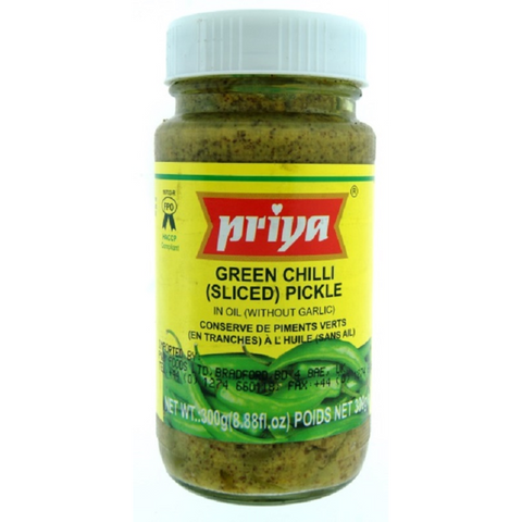 Priya Green Chilli Sliced Pickle w/ Garlic (300g)