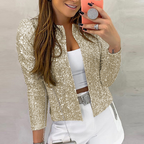 Women'S Sexy Long Sleeve Sequined Jacket