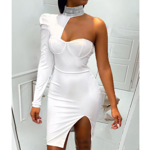 Sexy White One Shoulder Dress