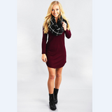 Sweet round neck long-sleeved dress