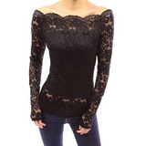 Solid Color Long-Sleeved Lace Shirt