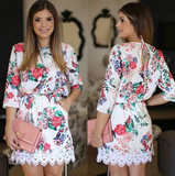 Fashion long-sleeved printed chiffon dress