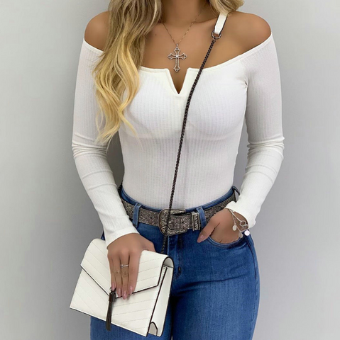 Sexy One-Neck Solid Color Casual Slim Long-Sleeved Top