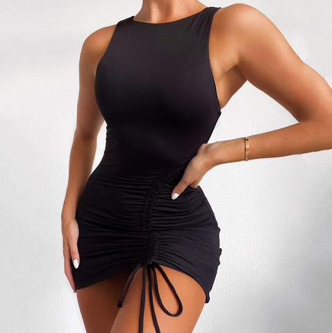 Sexy Round Neck Sleeveless Solid Color High Waist Dress