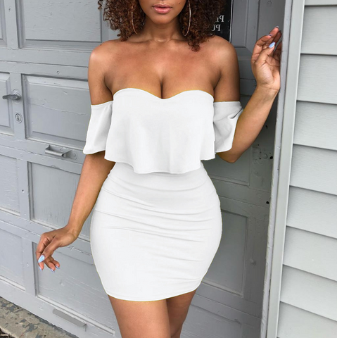 Women Strapless Flounced Package Hip Dress
