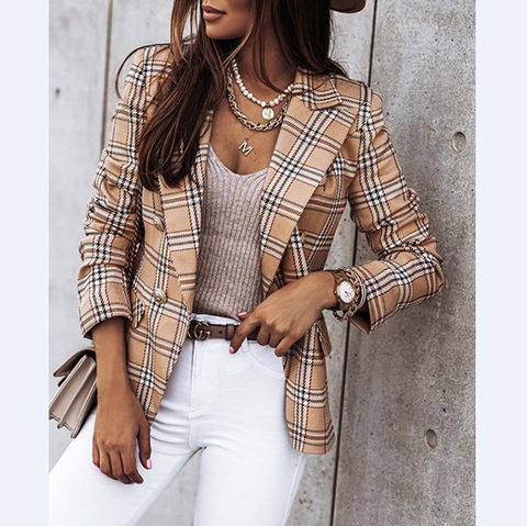 Casual Long Sleeve Plaid Coat