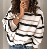 Round Neck Striped Stitching Long Sleeve Knit Sweater