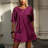 Solid Color Round Neck Casual Dress