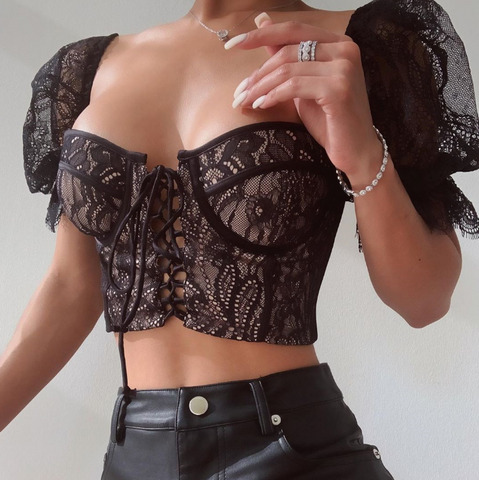 Fashion Sexy Puff Sleeve Lace Shirt
