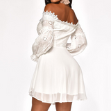 Women's Lace Long Sleeve Sexy Off-Shoulder Dress