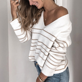 V-Neck Solid Color Knit Striped Sweater