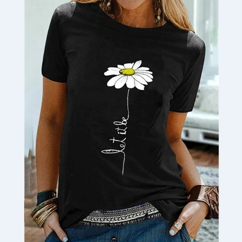 Casual Chrysanthemum Printed Short-Sleeved T-Shirt