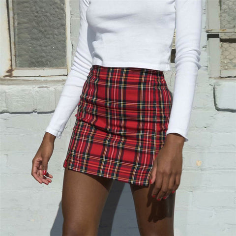 Sexy Red Plaid Package Hip Skirts