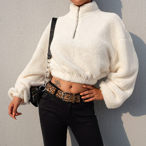 Casual Long Sleeve White High Neck Zip Sweater