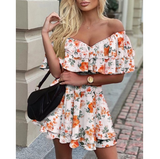 Slim V-Neck Printed Off-The-Shoulder Ruffled Fashion Dress