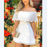Lace Off Shoulder Broderie Mini Dress