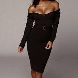 Long Sleeve Round Neck Backless Sexy Slim Dress