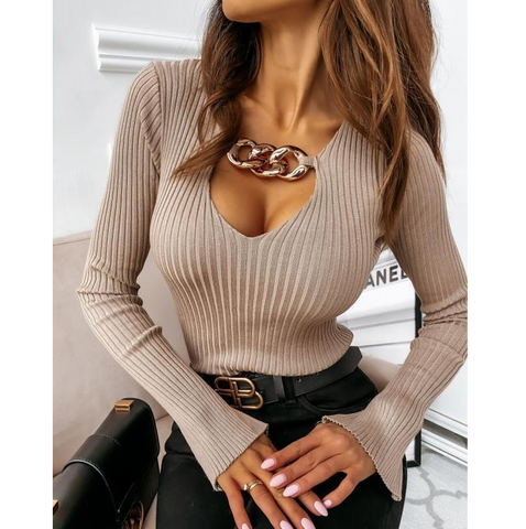 Sexy Chain Long Sleeve Slim Shirt