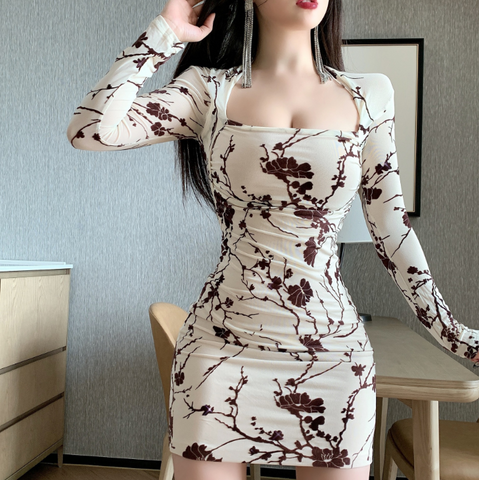 Sexy Floral Long Sleeve dress