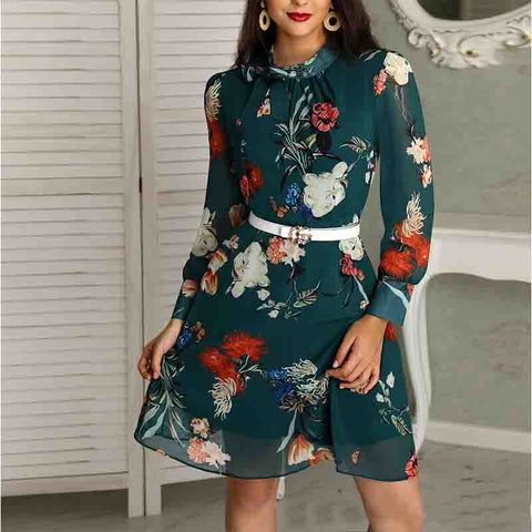 Casual Long Sleeve Printed Dress