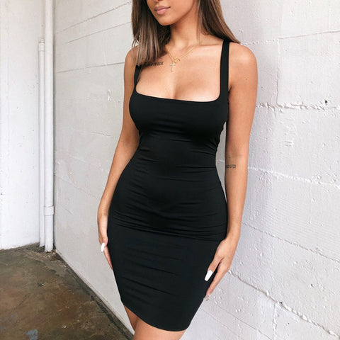 Women High Waist Sleeveless Hip Vest Dress