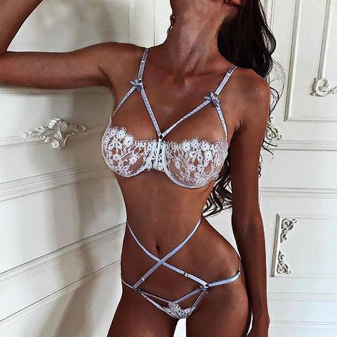 Cross Belt Lace Underwear Two-Piece Suit