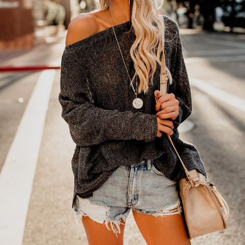 Casual Loose Strap Long Sleeve Sweater
