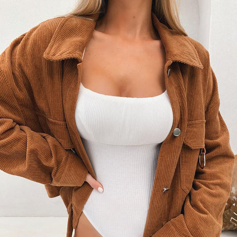Loose Solid Color Long Sleeve Jacket