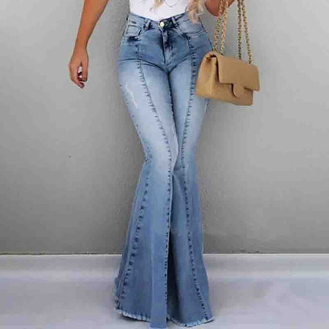 Solid Color Casual High Waist Flared Jeans