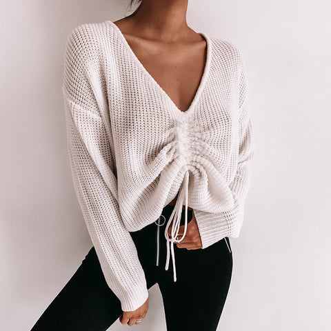 Casual Sexy V-Neck Long-Sleeved Sweater