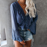 Fashion Long Sleeve V-Neck Ruffled T-Shirt