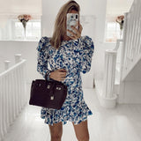 Long Sleeve Printed Sexy Backless Dress