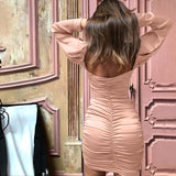 Backless Women's Sexy Long Sleeve Dress