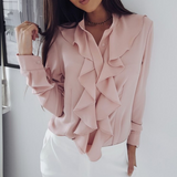 Elegant Solid Color Long-Sleeved Top
