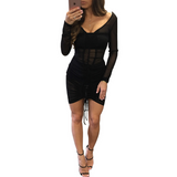 V-Neck Sexy Slim Long-Sleeved Dress