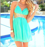 SEQUINED CHIFFON DRESS