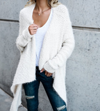 Irregular Knit Cardigan Solid Color Coat