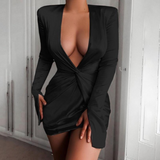 Deep V-Neck Sexy Long-Sleeved Dress