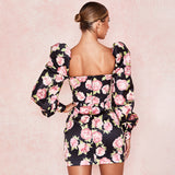 Fashion Printed Wrap Chest Buttoned Hip Dress