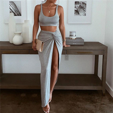 Irregular Solid Color Sleeveless Two-Piece Suit