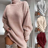 Sweet Long Sleeves Knitting High-Necked Sweater Dress