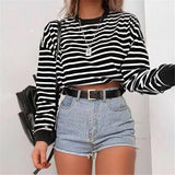 Casual Round Neck Striped Long-Sleeved Top