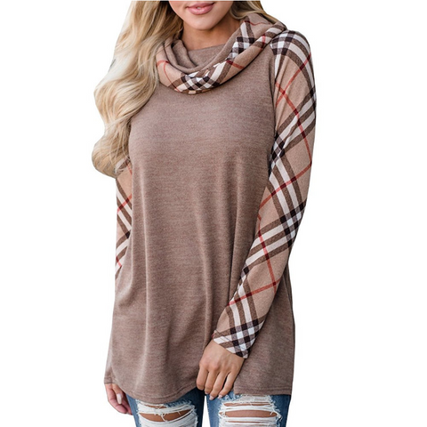 Casual Long Sleeve Plaid T-Shirt
