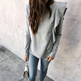 Women's Solid Color Round Neck Long Sleeve T-Shirt