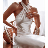 Temperament Wrapped Chest Sexy Backless Slim Dress