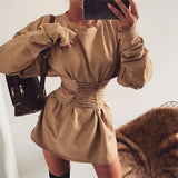 Solid Color Round Neck Long Sleeve Bow Dress